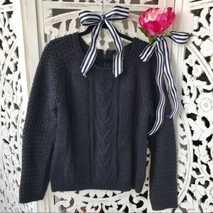 Cynthia Rowley Navy & Copper Cable Knit Sweater